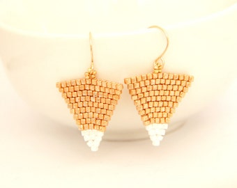 Triangle Beaded Earrings / Triangle Earrings / Beaded Jewelery