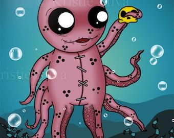 Unlucktapus 8x10 digital print by Kristie Silva voodoo doll stitched octopus monsters creatures