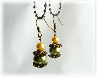 Old bronze and  warm, golden brown, green hue earrings