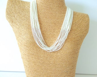 White necklace bride necklace pearl necklace statement necklace, multistrand necklace beaded necklace crystal necklace bridesmaids gifts