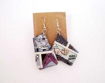 Quirky earrings, paper earrings, geometric earrings, paper jewelry, upcycled jewelry, newspaper jewelry, freeform earrings, geeky earrings