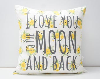 Pillow Cover - I love you to the moon and back Pillow Cover, 20x20, vintage yellow floral