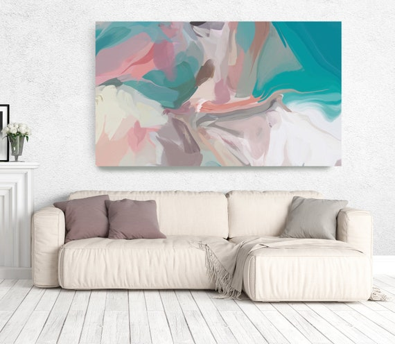 "The Color Movement 17, Abstract Painting Modern Wall Art Painting Canvas Art Print Art Modern Pink Turquoise up to 80"" by Irena Orlov"
