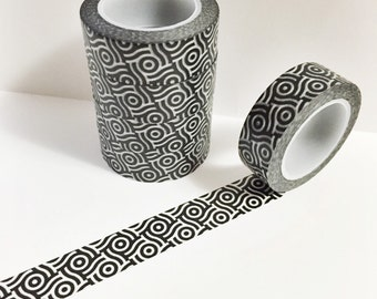 Black and Opaque White Circle Abstract Design Washi Tape 11 yards 10 meters