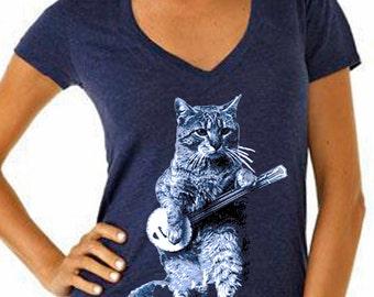 cat - cat shirt - cat tshirt - cat gifts - cat lover gift - cat lady - cat lover - womens tshirts - animal shirt - BANJO CAT - deep vneck