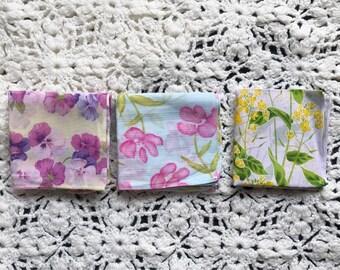 Set of 3 flora/ flower print handkerchiefs.