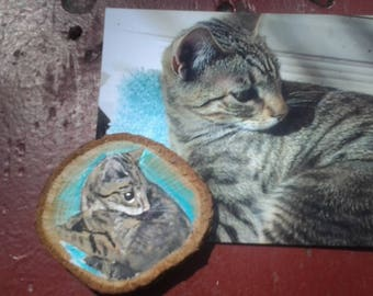 Custom Painted Cat Magnet, Ornament, Pet Memorial, New Pet, from your Photo