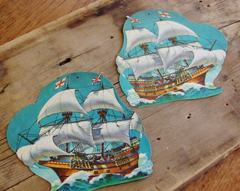 Set of 2 Dennison Die Cuts, Vintage 1960's, Tall Ships, Nautical Decor, Pirate Party Decor, Pirate Ships, Cardboard Cutouts, Holiday Decor