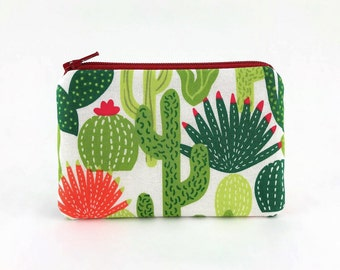Cactus Zip Pouch - Cactus Print Fabric - Cactus Gift ideas - Zipper Coin Purse - Mini Coin Pouch Wallet - Cute Small Gifts - Padded Coin Bag