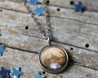 Mars Planet Pendant - Galaxy Space Necklace - Antique Silver or Bronze - Petite Solar System - Cosmic Jewelry, Aries Ruling Planet Zodiac