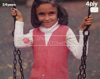 """Girl's Sweater and Sleeveless Jacket 22/24"""" 4ply Sirdar 3199 Knitting Pattern PDF instant download"""