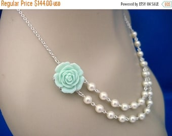 ON SALE Bridesmaid Jewelry Set of 6 Mint Rose and Pearl Double Strand Wedding Necklaces