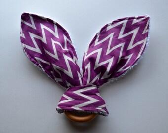 Bunny ear teething ring, purple chevron baby teether, wood teething ring, cloth teething ring, bunny ear ring, baby shower gift