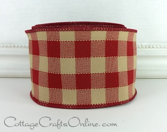 "Wired Ribbon 2 1/2"" Dark Red and Tan Large Check, Faux Linen - TEN YARD ROLL - d. stevens, Plaid Prim Style Christmas, July 4th Ribbon"
