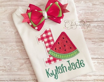 Fabric Tutu, SUMMER WATERMELON, Shabby Chic Fabric Tutu, Photo Prop Tutu, Toddler Tutu, red watermelon Birthday, Watermelon tutu shirt