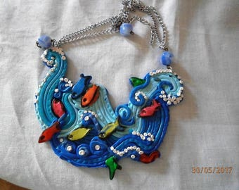 polymer clay necklace WAVE 1), with small fish and ch
