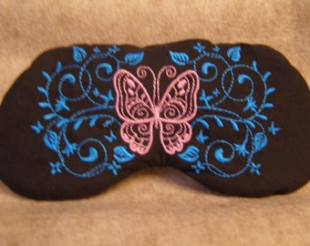Embroidered Eye Mask for Sleeping, Cute Sleep Mask for Kids or Adults, Eye Shade, Sleep Blindfold, Slumber Mask, Butterfly Design, Handmade