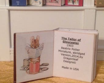 The Tailor of Gloucester, Beatrix Potter, 1:6 and 1/12 scale book
