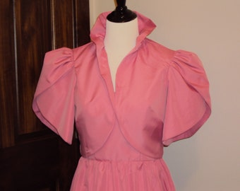 1970s Womens Dusty Rose Pink 2 Piece Polyester Taffeta Bridesmaid/Prom/Party/Special Occasion Formal Dress Size M/ Dress With Bolero/Shrug