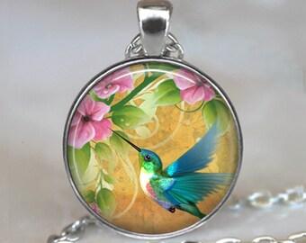 Hummingbird Garden necklace, hummingbird pendant, hummingbird necklace, summer jewelry hummingbird jewelry key chain key ring key fob