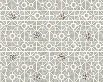 Garden Fabric, Geometric Fabric - Salon Fleur by Studio Frivolite for Studio e -  3638 09 Gray - Priced by the 1/2 yard