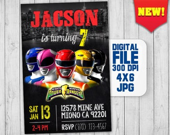 Power Rangers invitations,  Power Rangers birthday invitation, Power Rangers party, Power Rangers invite, Godzilla