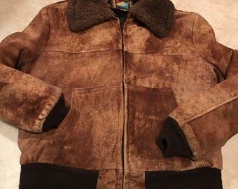 Vintage shearling sheepskin bomber style coat sz 44 men's by Garfel of France
