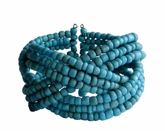 Bead Cuff Bracelet Braided Beads Strands in Sky Blue