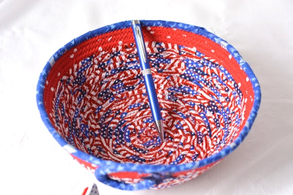 Summer Patriotic Decoration, Gift Basket, Handmade Red White and Blue Party Bowl, Picnic Fabric Basket, Patriotic Summer Party Decor