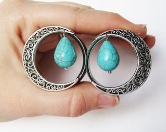 Pair of Silver Swirl Moon Tunnels w/ Turquoise Teardrop Beads - Girly Plugs - Feminine Gauges - Handmade - 25mm 28mm 30mm 32mm Boho Bohemian