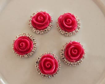 hot pink flower cabochon with Rhinestones