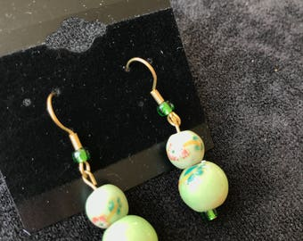 Green Flowered Sphere Earrings