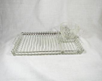 "Vintage Anchor Hocking Glass Berwick Boopie ""Smoke and Sip"" Snack Trays  Set of 4 (8 piece set)"