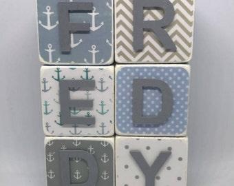 Wooden Name Blocks - Blue & Grey Nautical