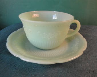 Vintage Fire-King Jadeite Alice Pattern Cup And Saucer
