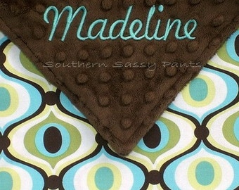 Personalized Baby Blankie , Little Lovie for Boys or Girls - Minky and Spa Feeling Groovy Baby - LIMITED but still available