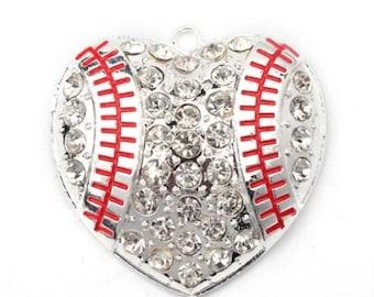 Baseball pendant baseball charm DIY baseball necklace baseball chunky bead necklace pendant baseball necklace do it yourself