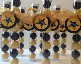40th birthday,  black and gold party theme, 50th birthday, 21st birthday Gumball tube party favors, set of 12