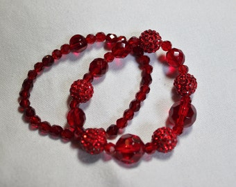 Red  Rhinestone and Glass Beaded Stretchable Bracelets Set of Two