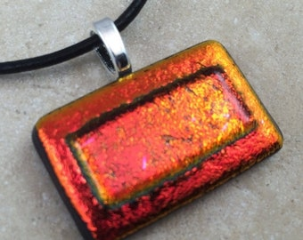 ON SALE Layered Dichroic Necklace, Glass Jewelry, Fused Glass Jewelry, Dichroic Pendant, Dichroic Glass Jewelry, Red Orange Dichroic -HEA246