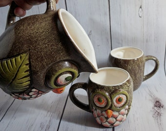 Mothers day gift Pitcher with mugs Owls Drinking cups Children mug Owl Gift for kids Bird cup Cute mug Whimsical pottery Pottery pitcher set