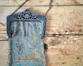 Vintage Art Deco Whiting and Davis Enamelled Mesh Purse - Classic Flapper
