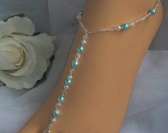 Bridal Barefoot Sandal Aquamarine Pearl Foot Jewelry