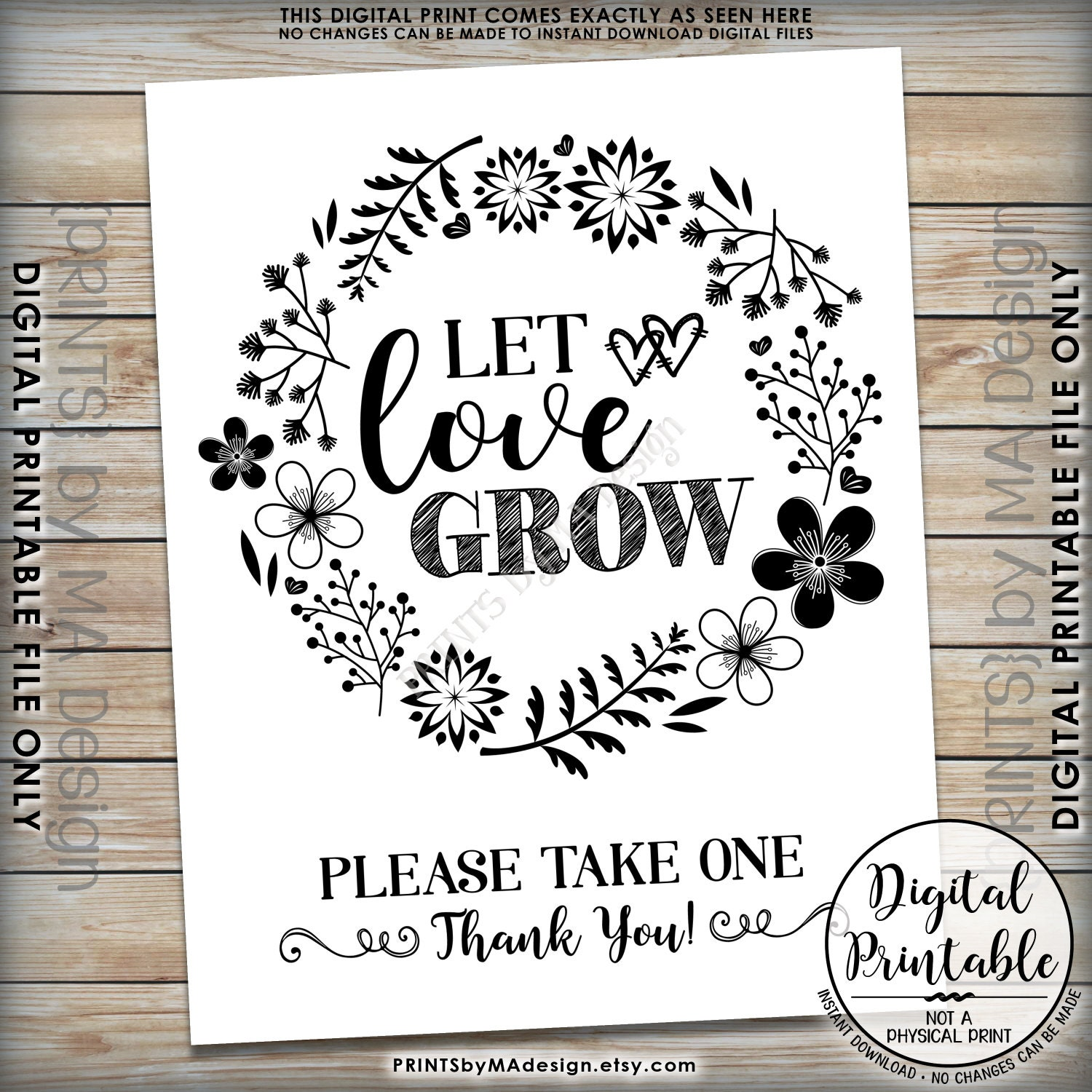 Let Love Grow Sign, Watch Our Love Grow Wedding Favors, Plant Seeds ...