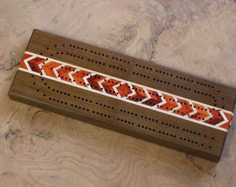 Continuous Track Folding Travel Cribbage Board With Inlays