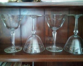 Crystal Sherbet Glasses (4) 1940's to 1950's