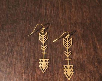 Gold Arrow Earrings. Gold Jewelry. Drop Earrings. Arrow. Dangle Earrings. Women Jewelry. Retro. Statement Earrings. Earrings Gift.