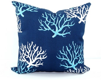 Blue Outdoor Pillows, Blue STUFFED Pillow, Navy Pillow, Blue Decorative Pillow, Navy Aqua Pillow, Coral Outdoor Pillow, Beach Decor