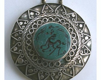 Vintage Turkman Sterling Silver Pendant with Carved Turquoise Stone, 1