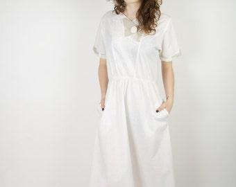 White Cotton Dress Summer Dress Short Sleeves Dress Cotton Dress Romantic Dress Midi Sundress Beach Dress Boho Hippie dress Size Small